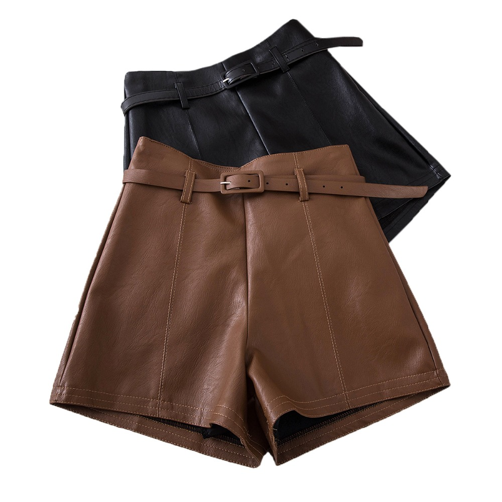 Casual PU Leather   Shorts   For Women High Waist Sashes Wide leg   Shorts   2019 Spring Autumn Loose Elastic Waist Leather   Shorts