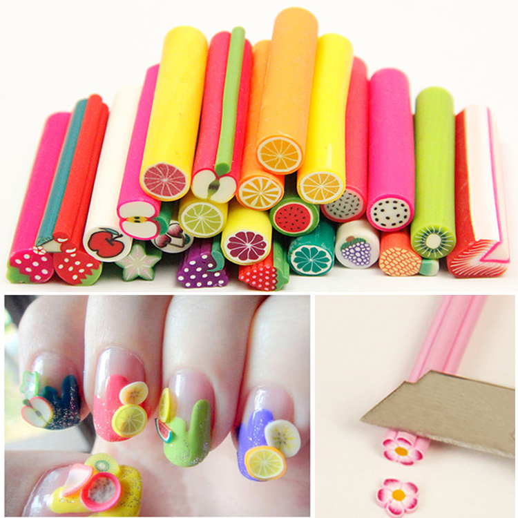 3D Fruit Feather Polymer Clay DIY Nail Sticker Decoration Nail Art Fimo Cane Fimo Sticks Rhinestonei for Gel Nail Polish professional 1000pcs lot fimo clay 3 series fruit flowers animals diy 3d nail art decorations nails art sticker design