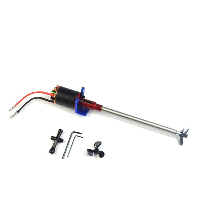 RC Boat Integral Motor Seat Shaft Assembly 540 Drive Motor + 4mm Shaft + 10mm Shaft Sleeve Tube + 3-blades propeller Set Kit