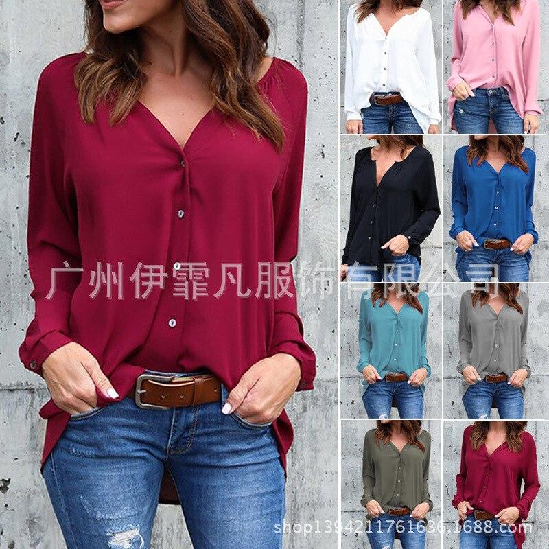 Women's Clothing Cheap Price Blouse Women New Fashion 2019 Aliexpress V-neck Fold Button Long-sleeved Loose Chiffon Shirt Blusa Feminina Vestidos Eff6173