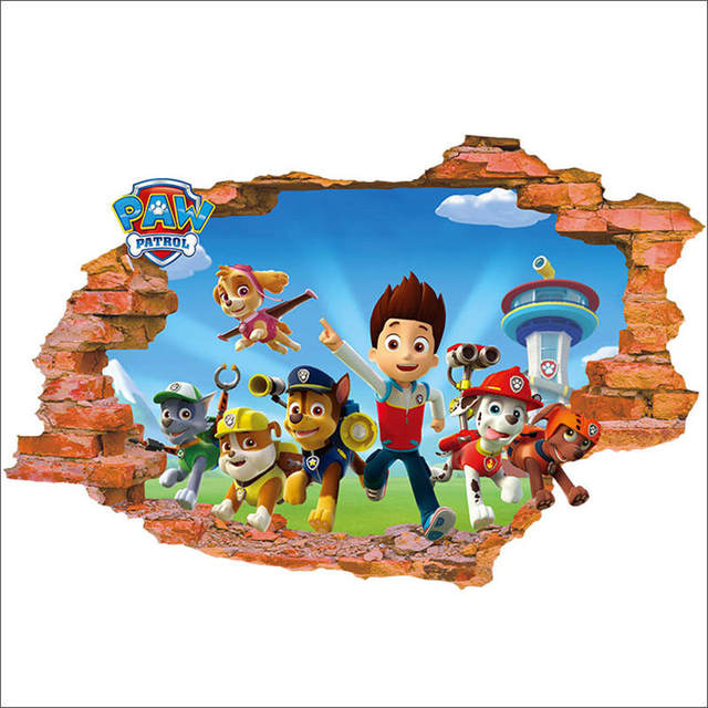 3D Paw Patrol Background Children\'S Room Bedroom Wall Stickers ...