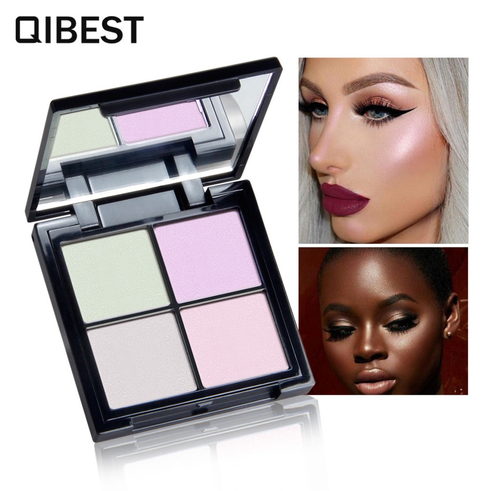 QIBEST Brand 4 Color In One Highlighter Powder Multifunction Trimming Eye Makeup Palette Long Lasting Makeup Iluminador Glow Kit