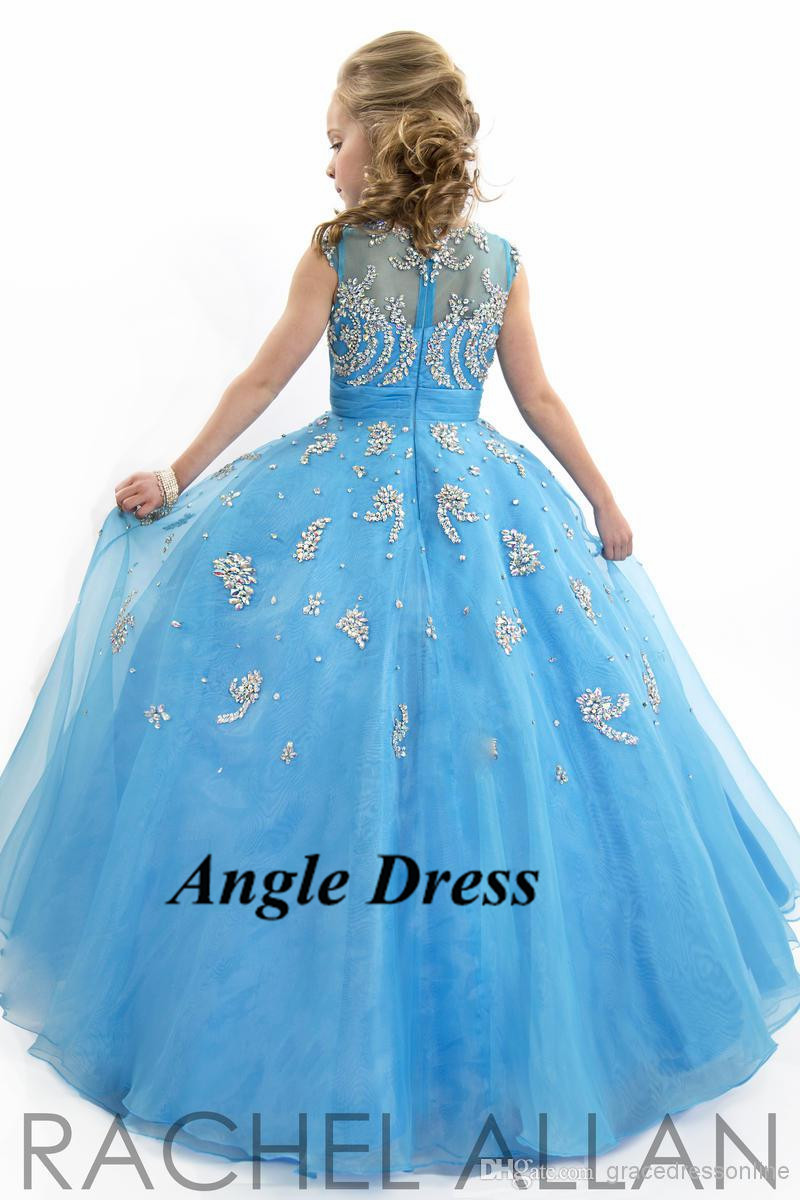 Lovely Sky Blue Fushcia Ball Gown Flower Girl Dresses for Weddings ...