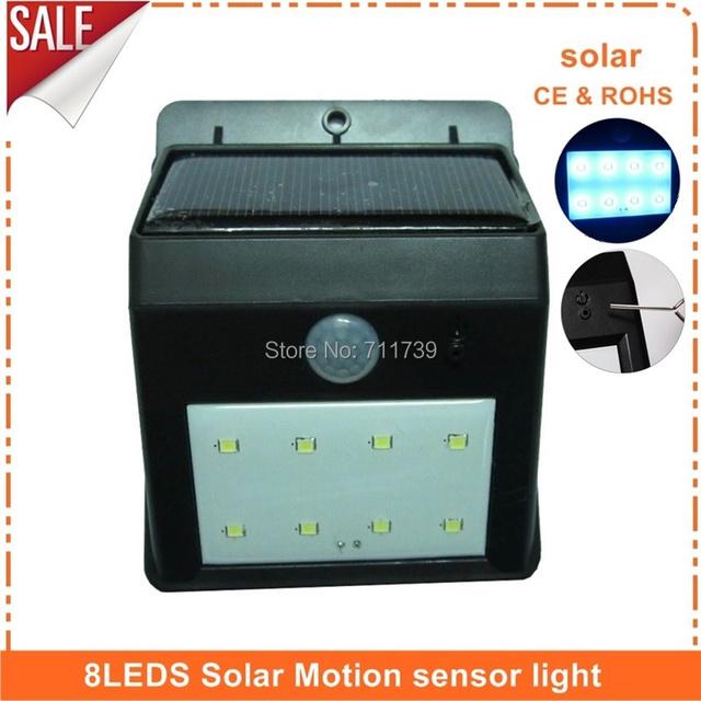 8 LEDS Solar Powered Auto Motion Sensor Light Outdoor IP65 Waterproof Garden Pathway LampLight Energy Saving Sense Light – 10pcs
