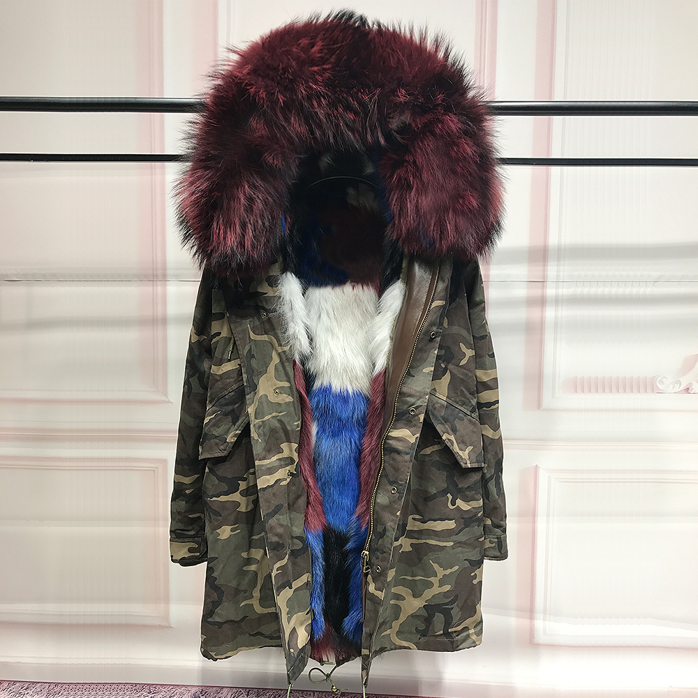 Real Fox Fur Liner winter jacket women camoufla  parka real fur coat raccoon fur collar hooded parkas thick outerwear for woman printed long raccoon fur collar coat women winter real rabbit fur liner hooded jacket women bomber parka female ladies fp896