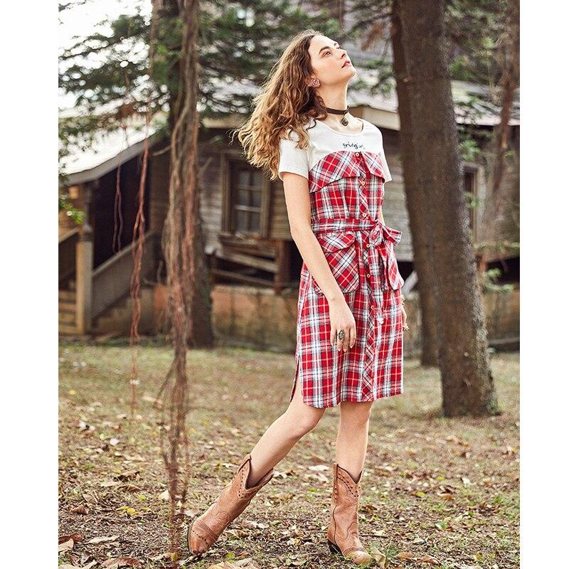 Couture Artka Dress Faux La10784x De Nouvelles Coton D été Plaid Lettres 2018  Robe Poches Femmes ... c1af4b8cc68