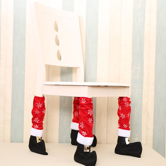 1PC Christmas Stocking Table Chair Leg Cover Protect Floor Non Slip Chair  Foot Cover Booties