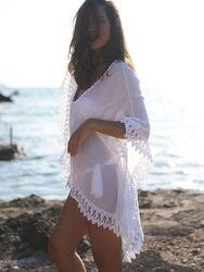 Crochê cover up sexy mulher beach wear swim bikini curto branco oco para fora maiô praia vestido