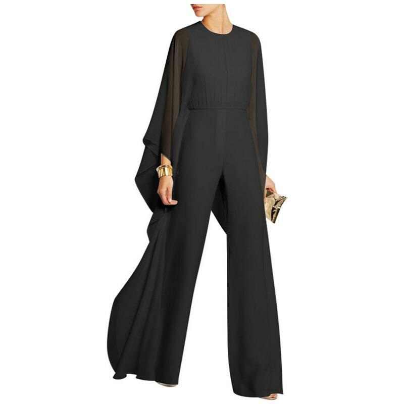 ... Sexy Long Party Jumpsuits Womens Elegant For Weddings Chiffon Jumpsuit  Long Sleeve Cocktail Pants Round Neck ... 00377b3eeb1d