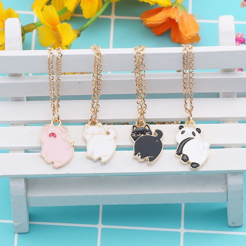 DIY Cartoon Animal Panda Cat Pig Necklace For Women Girls Rabbit Flower Cloud Lovely Pendants Statement Necklaces Jewelry 2019 in Pendant Necklaces from Jewelry Accessories