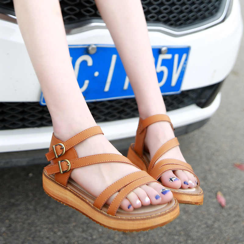 plus size 34-45 gladiator sandals women flat heel cross band summer shoes woman genuine leather flip flops platform sandals