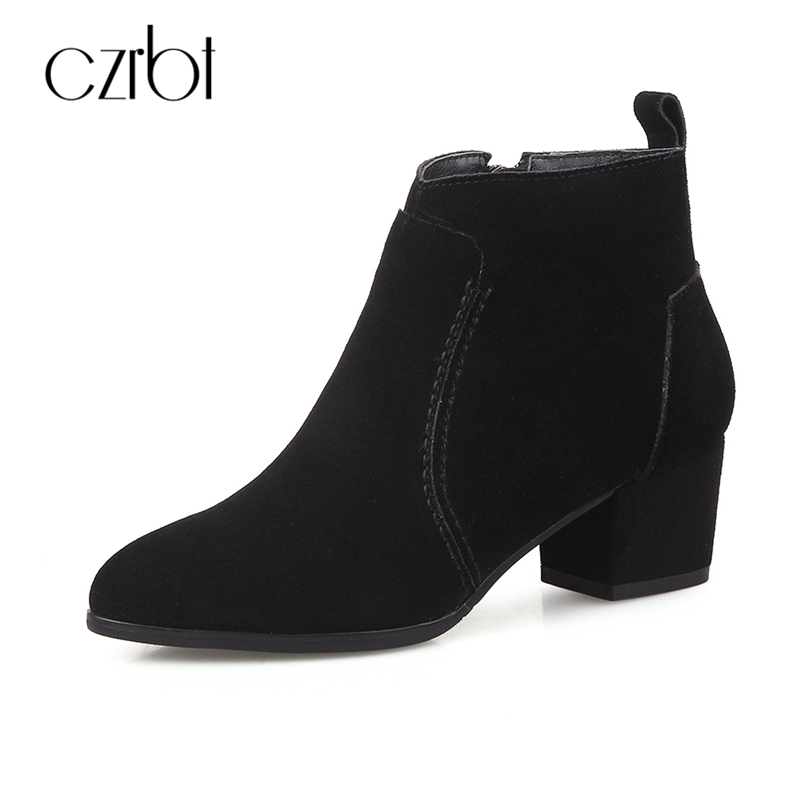 CZEBR Women Boots Spring Autumn Cow Suede Leather High Heel Boots Women Round Toe Solid Color Casual Short Boots Ankle Boots 2017 autumn new suede short boots thick bottom round toe solid color ankle boots women fashion casual shoes