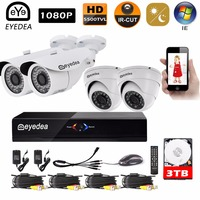 Eyedea DVR 8CH Video Recorder 2 0MP Bullet Dome Metal Waterproof Night Vision Surveillance Home CCTV