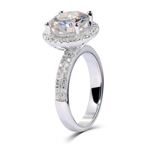 TransGems 1.6CTW Lab Grown Moissanite F color Stone Engagement Wedding Ring with Real Diamond Accents in 14K White Gold for Lady
