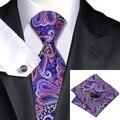 SN-633 Roxo Laranja Novidade Tie Hanky Abotoaduras Define 100% Gravatas De Seda dos homens para homens Casamento Formal Do Partido Do Noivo