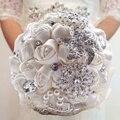 Элегантный индивидуальные свадебный свадебный букет с перл из бисера брошь и шелковые розы, Романтическая свадьба красочные невеста букет
