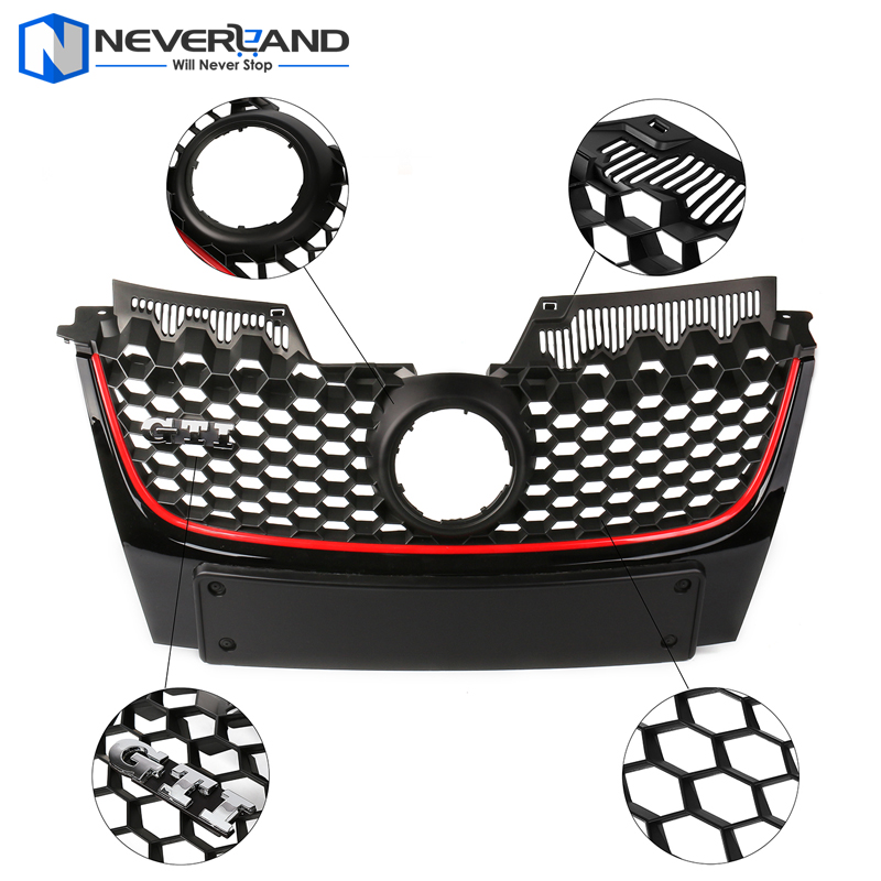 ABS Front Bumper Grille Red Strip Center Hood Grills For Volkswagen VW Jetta Golf MK5 GTI Bumper 2006 2007 2008 2009 dwcx 1j5853665b 1j5853666c front lower grille bumper vent for volkswagen vw jetta bora mk4 1999 2000 2001 2002 2003 2004
