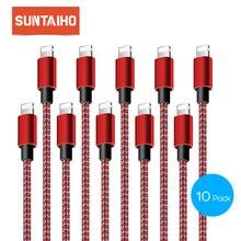 10 חבילה Suntaiho עבור iPhone X כבל USB כבל מהיר מטען כבל עבור iPhone 6 5 s 8 7 Se nylone צמת 1/2/3m נייד טלפון כבל