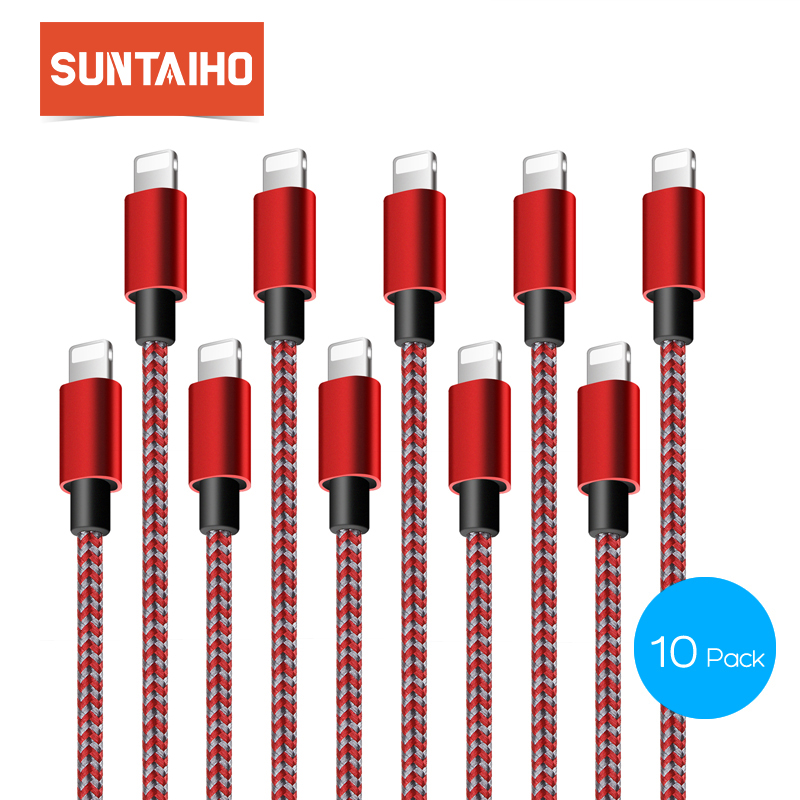 10Pack Suntaiho for iPhone X <font><b>Cable</b></font> USB <font><b>Cable</b></font> Fast Charger <font><b>Cable</b></font> for iPhone <font><b>6</b></font> 5 s 8 7 Se Nylone Braid <font><b>1</b></font>/2/3m Mobile Phone <font><b>Cable</b></font> image
