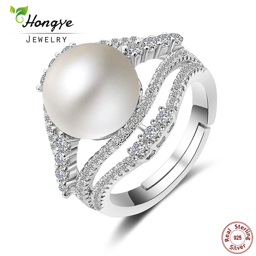 Hongye Wedding Rings White Pearl Freshwater 925 Sterling-silver-Jewelry, Big 10-11mm Elegant Adjustable Pearl Ring Bijoux FemmeHongye Wedding Rings White Pearl Freshwater 925 Sterling-silver-Jewelry, Big 10-11mm Elegant Adjustable Pearl Ring Bijoux Femme