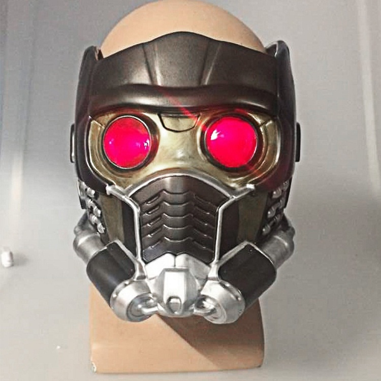 Cos Guardians of the Galaxy Helmet Cosplay Peter Quill Helmet PVC with Light Star Lord Helmet Halloween Party Mask For Adults