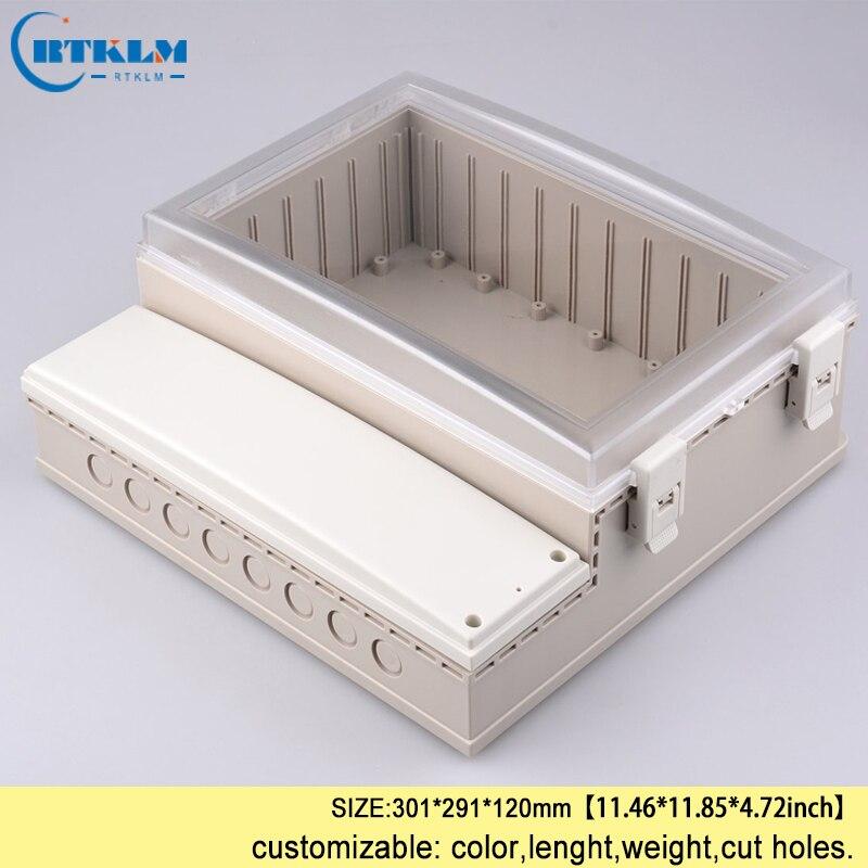 Electrical waterproof plastic enclosure IP68 transparent cover plastic project case ABS plastic instrument box diy 301*291*120mm