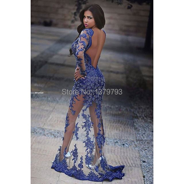5776cdde15d High Quality Deep V Neck Long Sleeves Royal Blue Lace Appliques See Through Open  Back Transparent See Through Sexy Prom Dresses