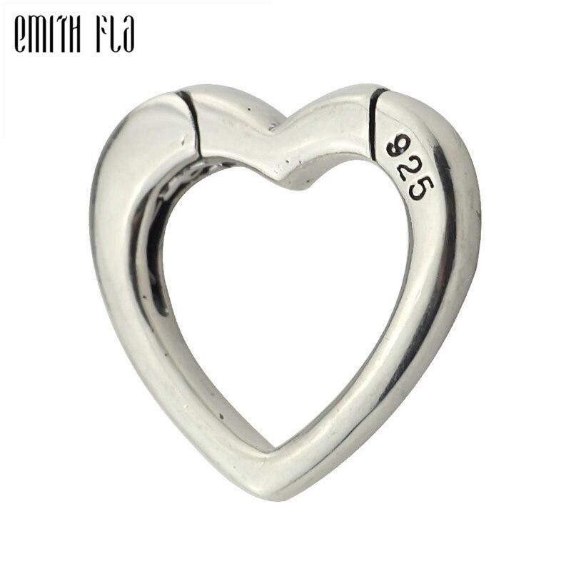 925 Sterling Silver Heart Lobster Lock Clasp Hooks Jewelry Findings Fit European Bracelet Jewelry Making Accessories Vintage