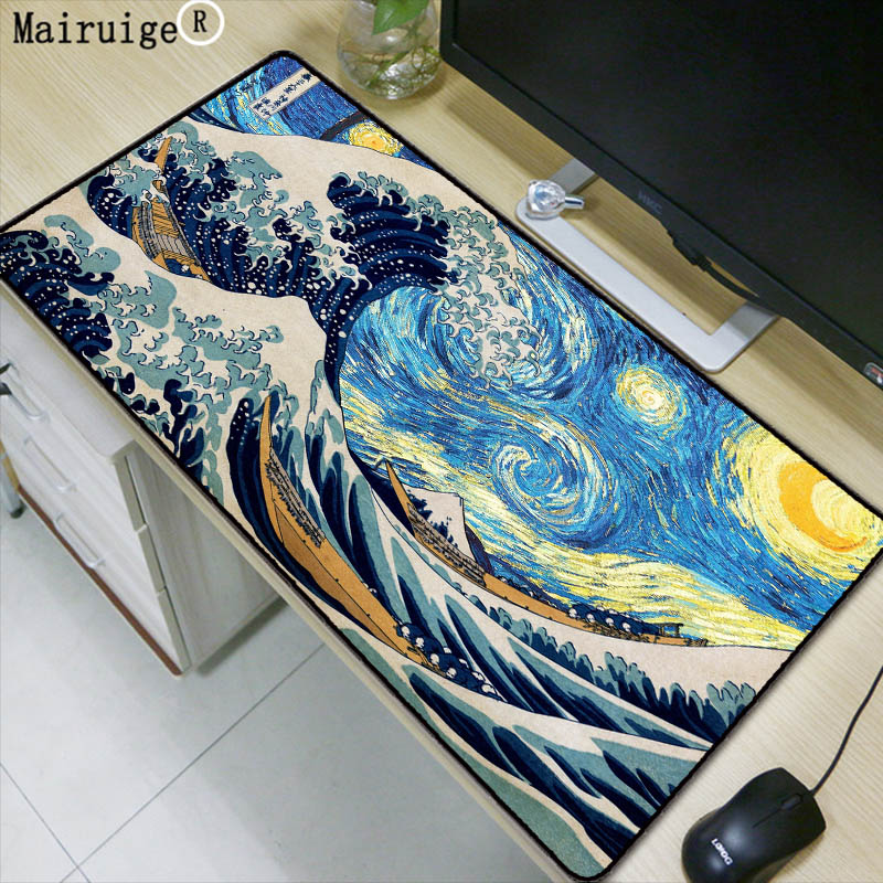Mairuige Great Wave Mouse Pad Large Thicken 900*400mm  Lock Edge Rubber Big Gaming Gamer Soft Mousepad Mause Mat For CSGO LOLMairuige Great Wave Mouse Pad Large Thicken 900*400mm  Lock Edge Rubber Big Gaming Gamer Soft Mousepad Mause Mat For CSGO LOL