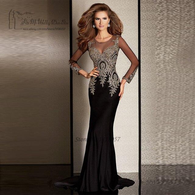 1a296555c8 Elegant Black Formal Long Sleeve Evening Dresses Gold Lace Mermaid Prom  Dress 2017 Vestido de Noche Robe de Soiree Courte