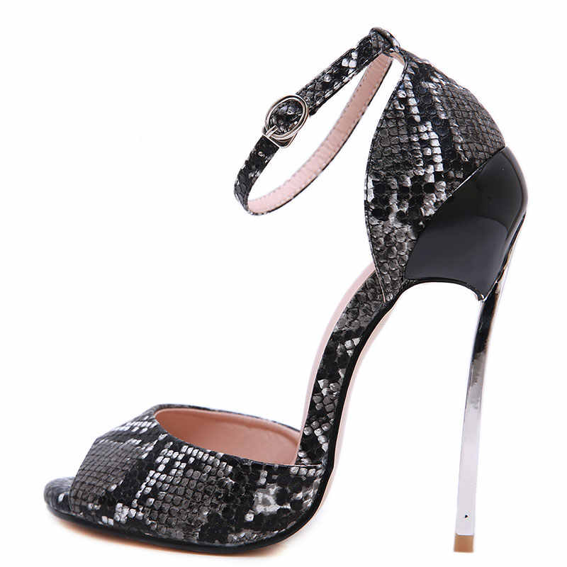GENSHUO אולטרה עקבים גבוהים נעלי נשים גבוהה עקבי מחט סנדלי פיפ טו קרסול רצועת מתפתל קיץ נעלי אישה בתוספת גודל