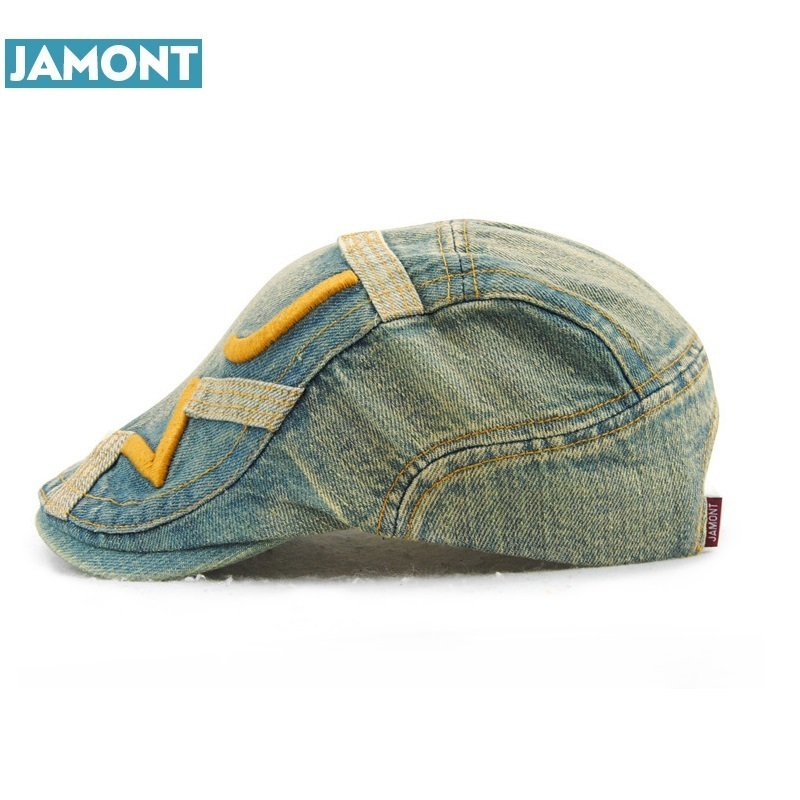 JAMONT Cotton Gorras Planas Male Beret Golf Driving Sun Flat Cap Hat For Women Couple Visors denim Casquette Boina Masculina