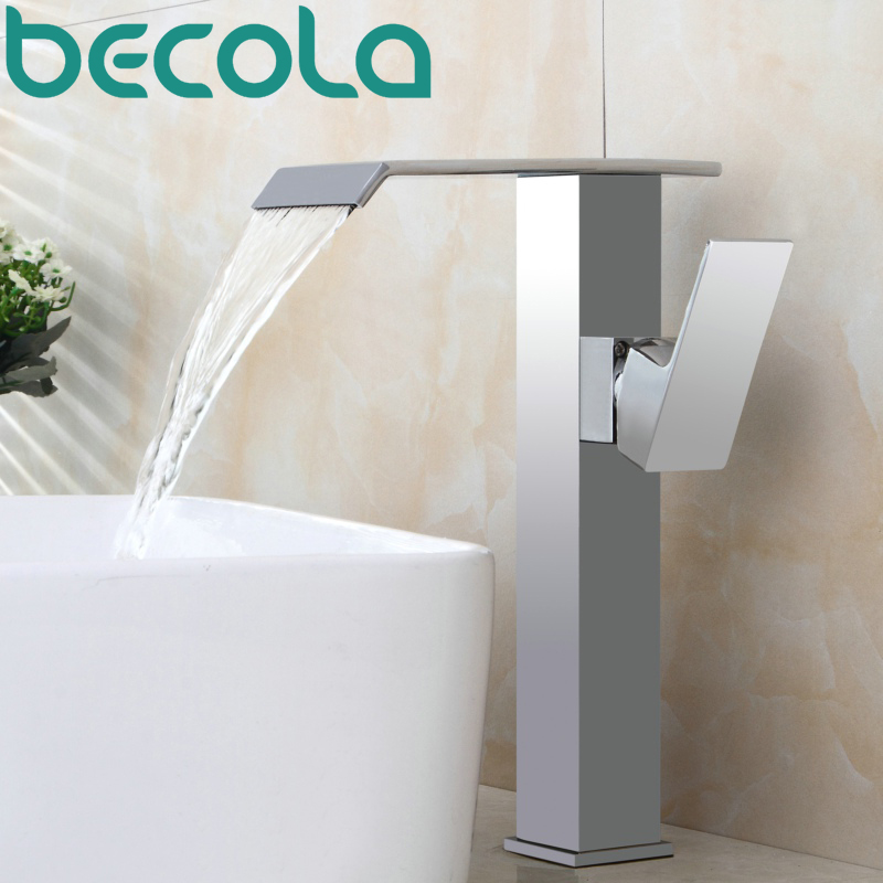 BECOLA Bathroom Faucet Deck Mounted Waterfall Faucet Single Hole Basin Faucet Brass Material Basin Mixer Tap Water mixer LT-515C