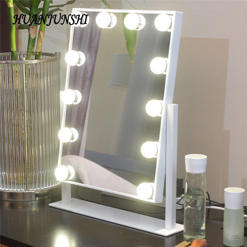 HUAN JUN SHI New LED Makeup Mirror Bulb 10 LED Lights Vanity Mirror Bulb Dimmer Beauty Table Lamp Tabletop Cosmetic Mirror цена 2017