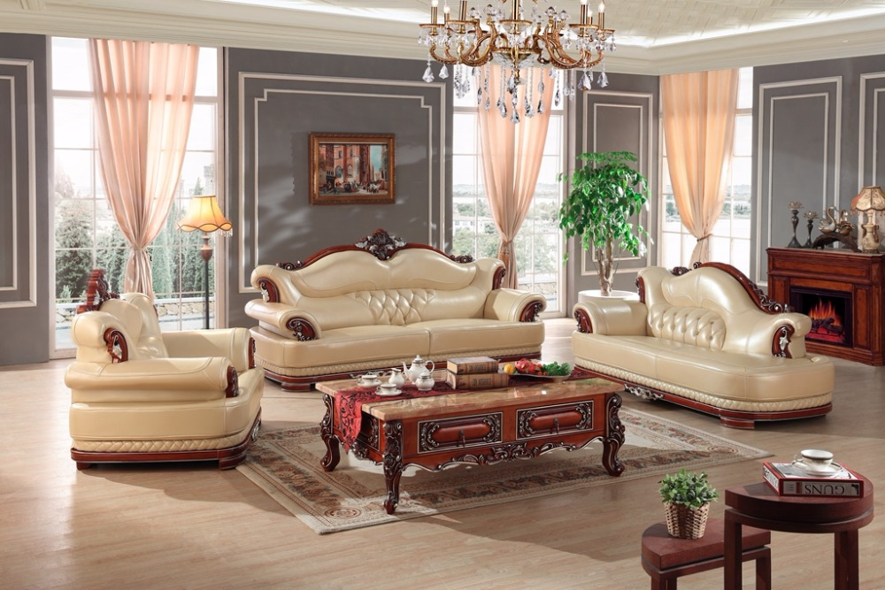 European Leather Sofa Set Living Room Sofa China Wooden Frame Sectional Sofa  1+4+