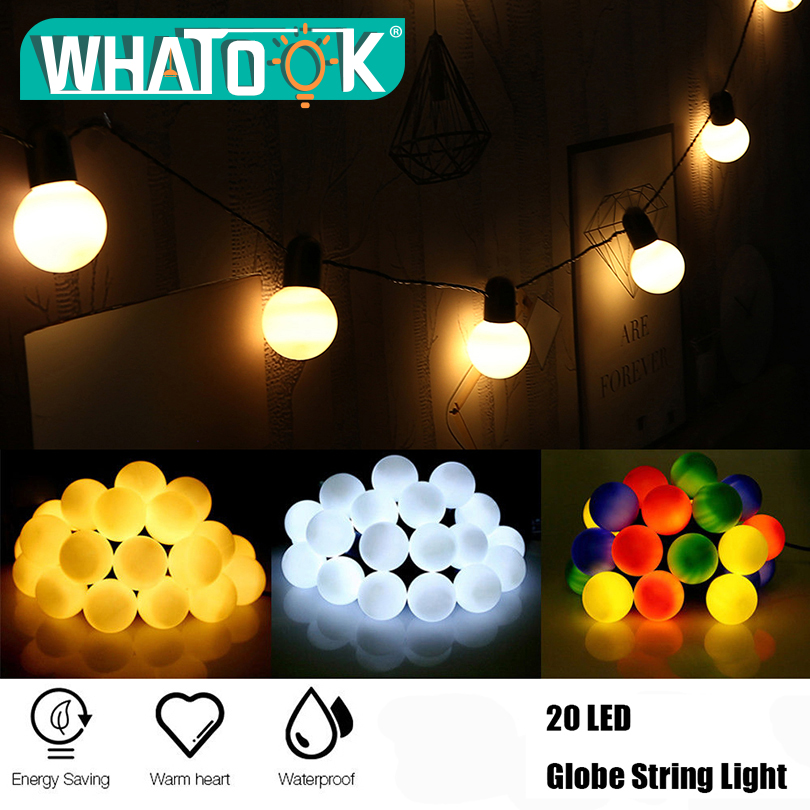 20 LED Globe Festoon Garland Ball string light Christmas Outdoor Hanging Connectable Wedding party home Led fairy string light цена