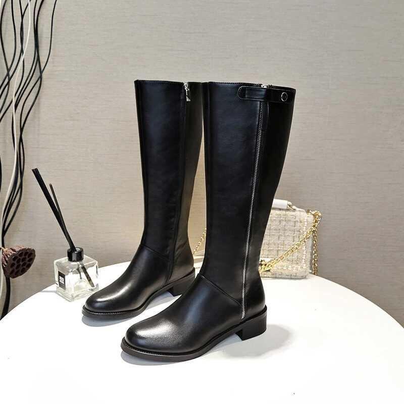 크기 35 40 무료 전송 스타일 겨울 부츠 여성 2019 패션 소프트 정품 가죽 여성 부츠 긴 튜브 부츠-에서무릎 - 하이 부츠부터 신발 의  그룹 1