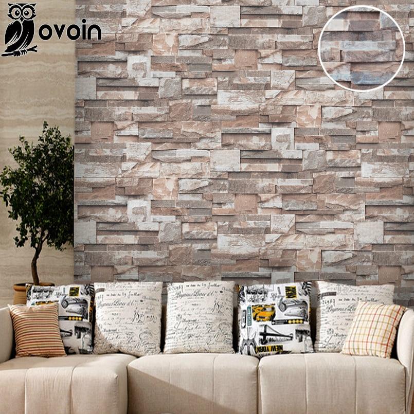 Vinyl 3D Stone Wall Paper Roll Brick Wall Wallpaper For Living Room, Dinning Room,Tv Background