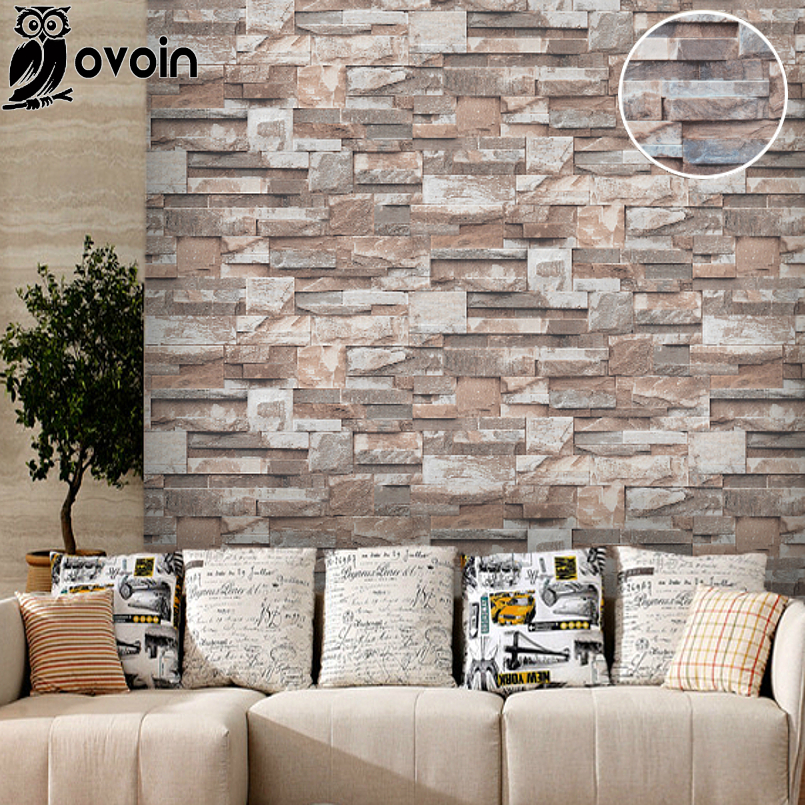 Vinyl brown grey beige nature emboss 3d stone wall paper for Grey brick wallpaper living room