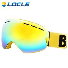 LOCLE Anti-fog Ski Goggles UV400 Ski Glasses Double Lens Skiing Snowboard Skateboard Snow Goggles Men Women Ski Eyewear