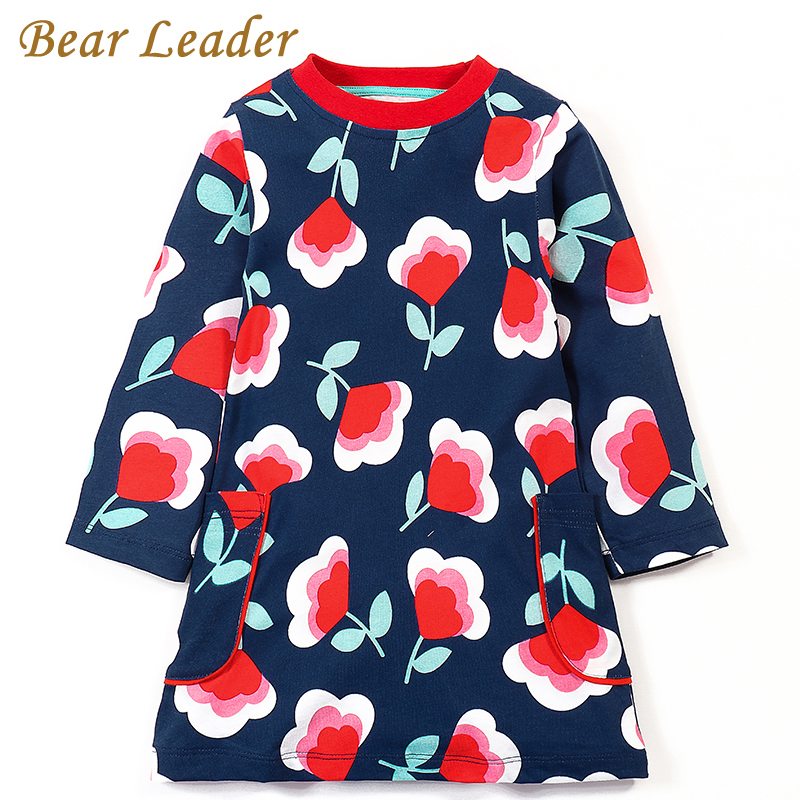 Bear Leader Girls Dress 2017 Brand Autumn Girls Clothes European and American Style Red Flowers Print Pocket Design Kids Dress 100% real photo brand kids red heart sleeve dress american and european style hollow girls clothes baby girl clothes