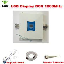 Conjunto completo de La Familia LCD DCS Repetidor GSM 1800 MHz Señal Del Teléfono Móvil Amplificador de Refuerzo Repetidor con antena Interior + Yagi antena