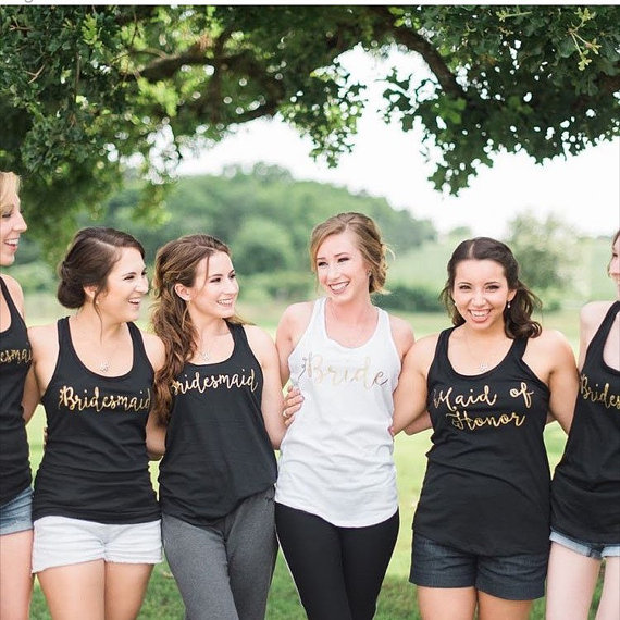 af72ea8db75 customize gold Bridesmaids Bride t shirts tees Hen night Bachelorette Tanks  tops bridal shower t Shirts Party favors