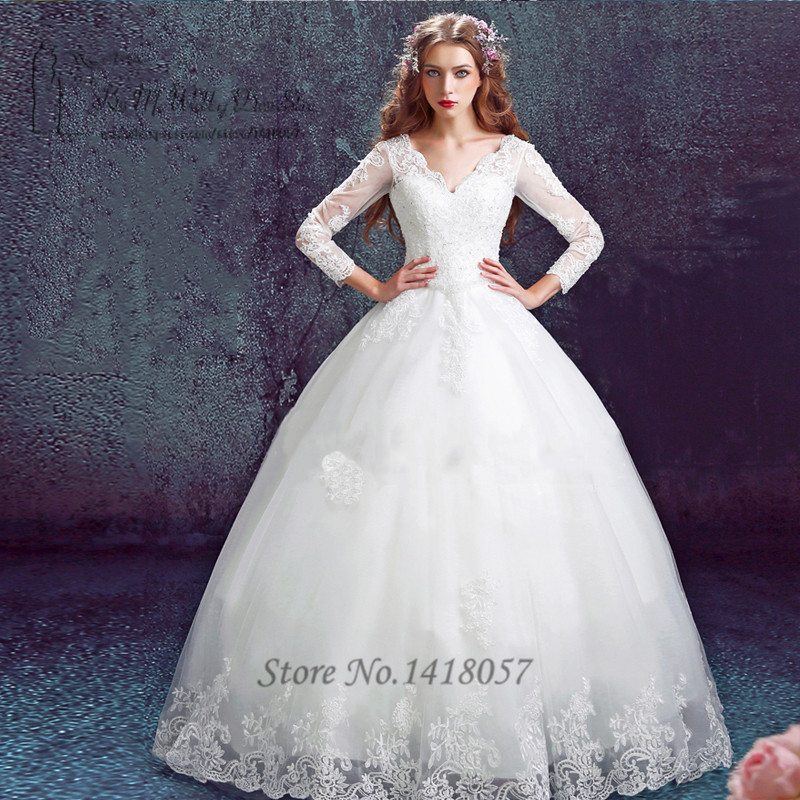 Ball Gown Boho Vintage Wedding Dresses Long Sleeve Lace ...