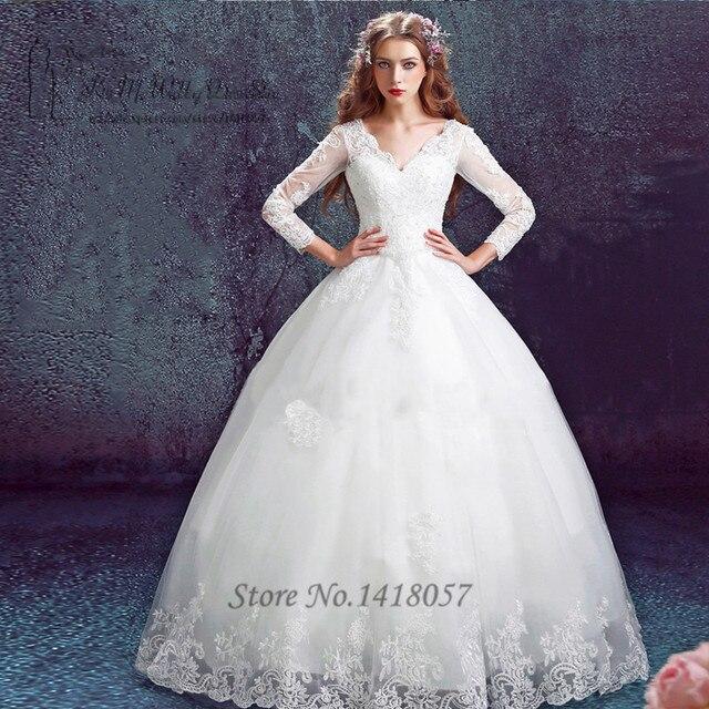 Ballkleid Boho Vintage Brautkleider Langarm Spitze Braut Kleid ...