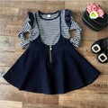 casual 2017 baby girl children clothing sets striped long sleeve Bottoming shirt tops +  denim overalls kids clothes tracksuit