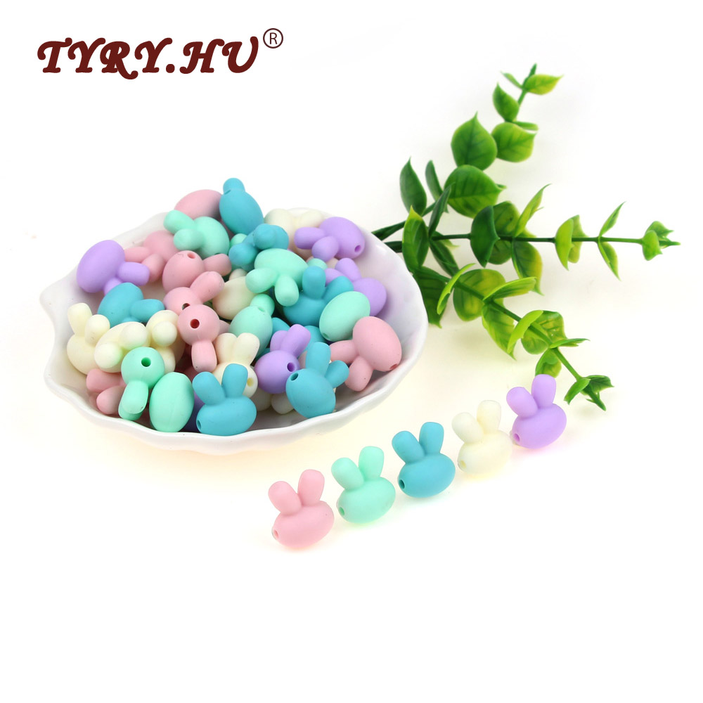 TYRY.HU Food Grade 10Pcs Rabbit Silicone Beads DIY Baby Teething Necklace Pendant Toy Teether Beads Nursing Silicone Beads