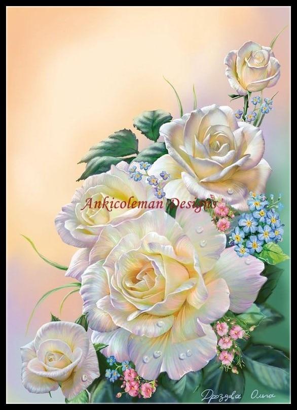 자수 DIY DMC 고품질 바느질 크로스 스티치 키트 14ct 유화-섬세한 흰색 장미