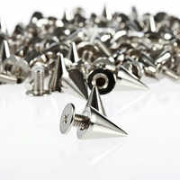 100 Pcs 9.5mm Silver Cone Studs and Spikes Punk Screwback Silver Cone Spikes Screwback Studs DIY Craft Cool Rivets Drop Shiping
