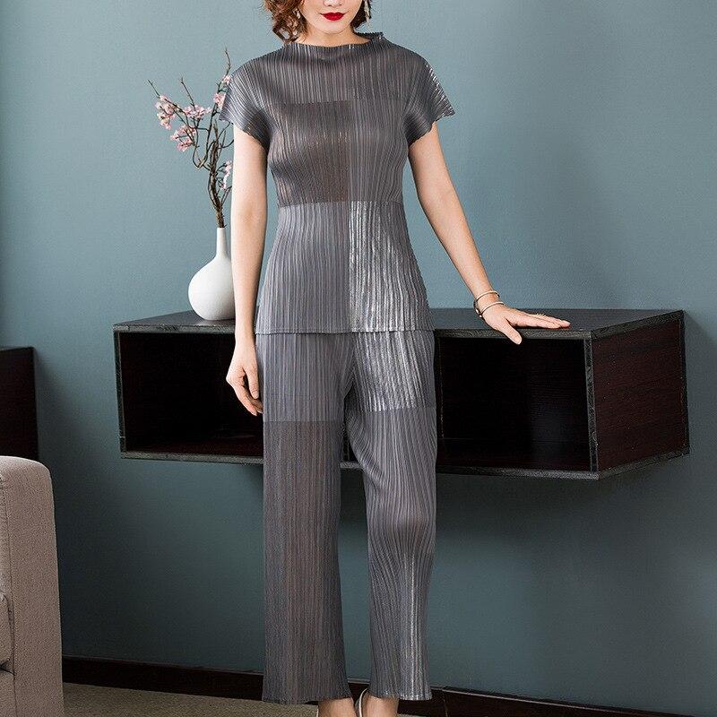 LANMREM 2019 高品質プリーツ二枚セットプリントパッチワーク新ファッション半袖トップス + ワイド脚パンツ女性 YF696  グループ上の レディース衣服 からの レディースセット の中 1
